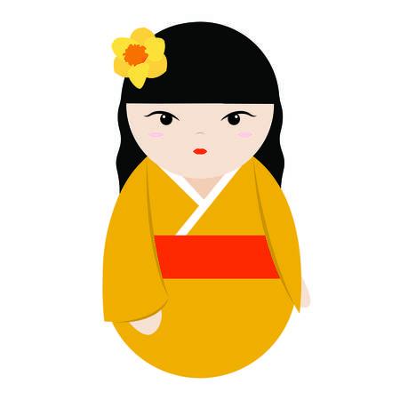 abstract cute geisha character on a white background Ilustração