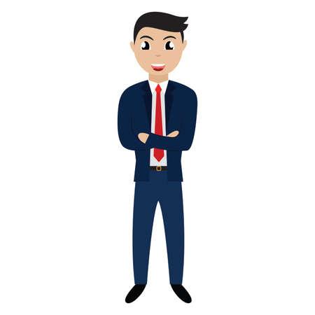 handsome cartoon businessman character. Vector illustration design