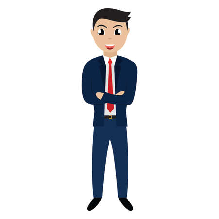 personaje de empresario de dibujos animados guapo. Diseño de ilustración vectorial