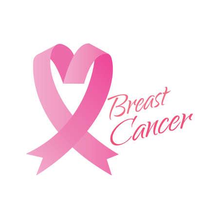 pink ribbon for breast cancer campaign, vector illustration design