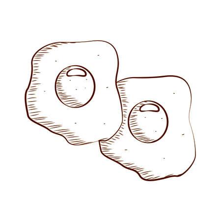 delicious fried eggs outline, vector illustration design