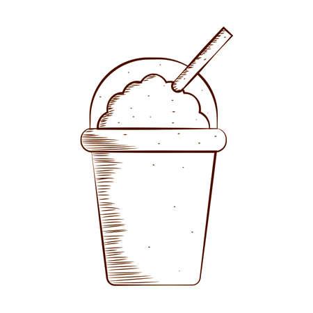 delicious drink draw outline, vector illustration design Illustration