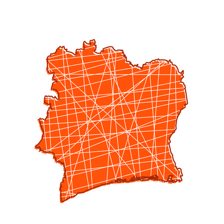 abstract colored ivory coast map, vector illustration design