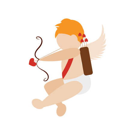 Cute angel with love arrows, vector illustration design