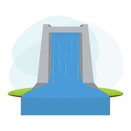 landscape of water renewable energy industry, vector illustration design 向量圖像