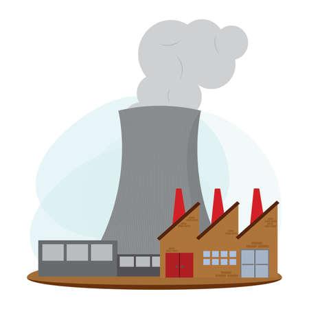 landscape of nuclear energy industry, vector illustration design