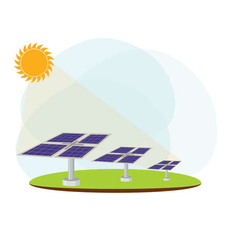 landscape of solar renewable energy industry, vector illustration design