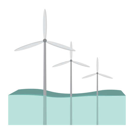 landscape of wind renewable energy industry, vector illustration design