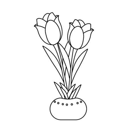 cute drawing outline rose, vector illustration design