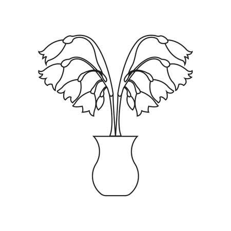 cute drawing outline plant, vector illustration design Иллюстрация