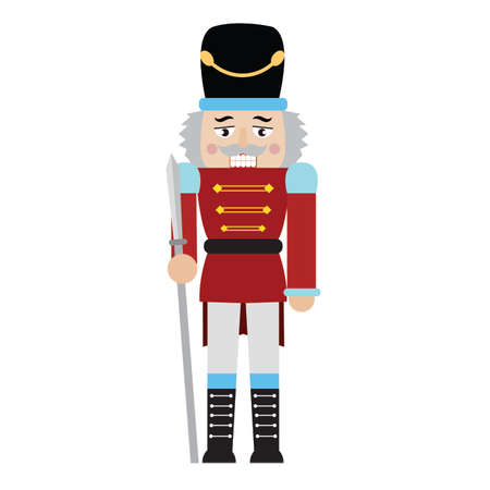 front view of cute nutcracker soldier toy, vector illustration design