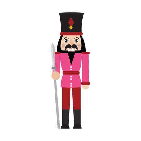 front view of cute nutcracker soldier toy, vector illustration design Vetores