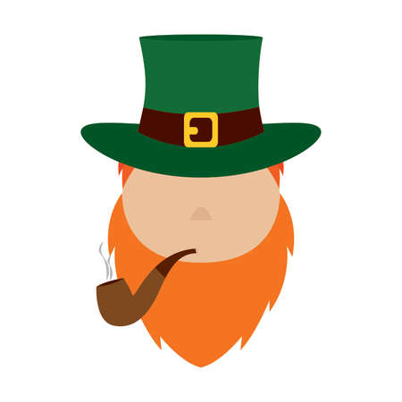 front view of elf face represent saint patrick day, vector illustration design