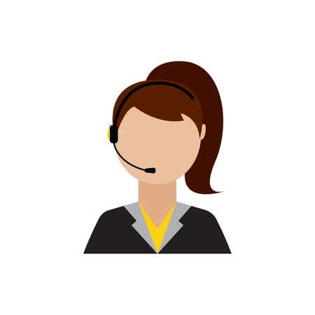 front view of call center worker, vector illustration design Ilustração