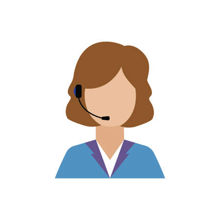 front view of call center worker, vector illustration design Illustration