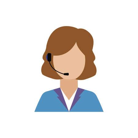 vue de face du travailleur du centre d'appels, conception d'illustration vectorielle