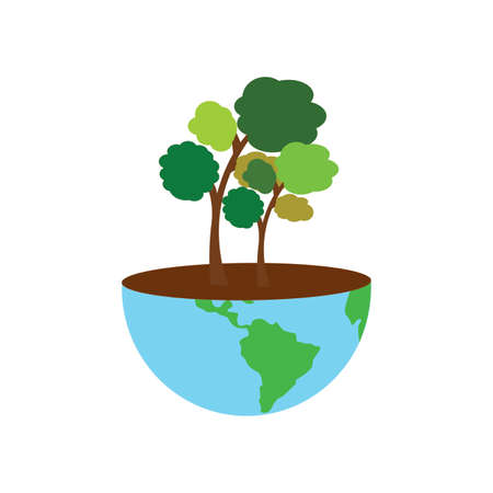 Cute world to represent the care of the enviroment, vector illustration design