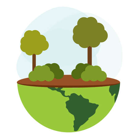 Śliczny świat reprezentujący troskę o środowisko, projektowanie ilustracji wektorowych Ilustracje wektorowe