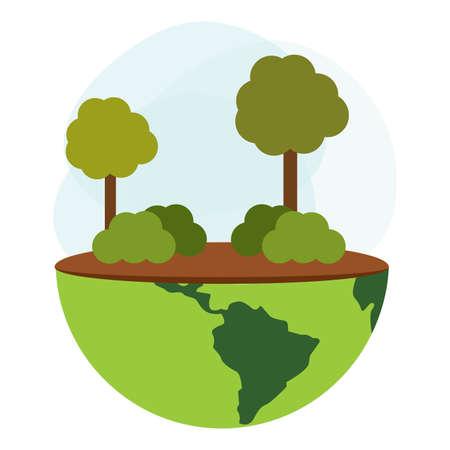 Mondo carino per rappresentare la cura dell'ambiente, illustrazione vettoriale design Vettoriali