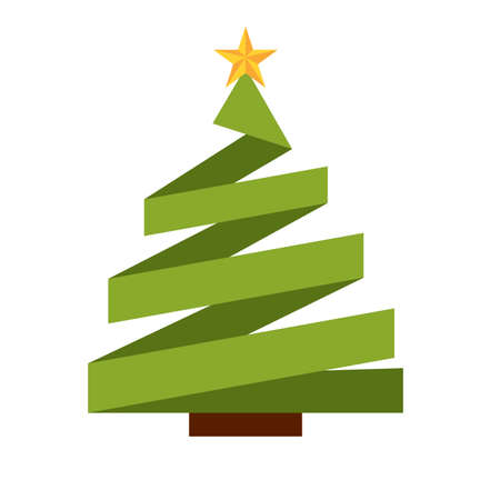 abstract cute christmas tree on a white background, vector illustration design  イラスト・ベクター素材