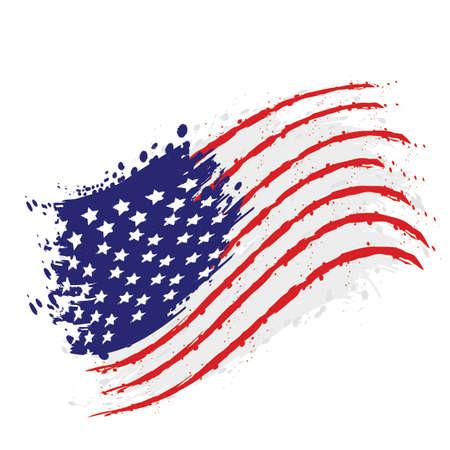 Acuarela bandera de Estados Unidos, diseño de ilustraciones vectoriales Ilustración de vector