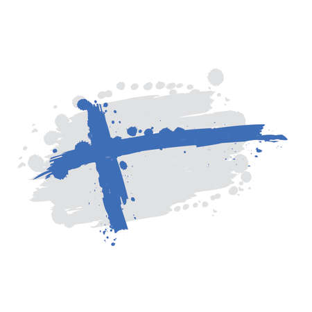 watercolor flag of Finland, vector illustration design