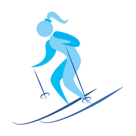 abstract cute skier on a white background