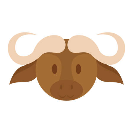Cute bull face isolated on white