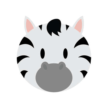 abstract cute zebra face draw, vector illustration design
