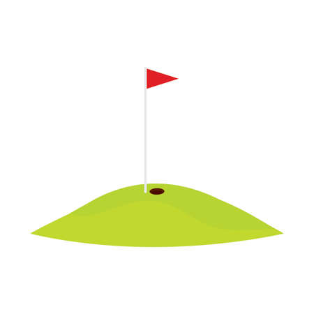 Abstract golf hole with flag isolated on white Illusztráció