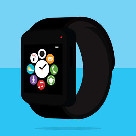 Isolated smart watch on a colored background - Vector illustration