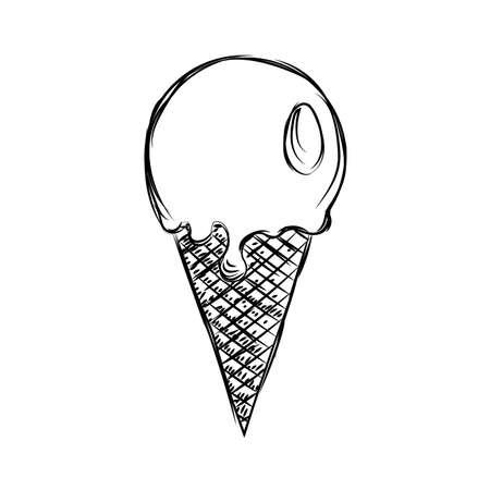 Sketch of an ice cream cone - Vector illustration design
