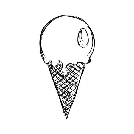 Skizze einer Eistüte - Vektorillustrationsdesign