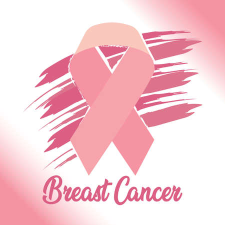 Breast cancer poster with a pink awareness ribbon - Vector Reklamní fotografie - 134848206