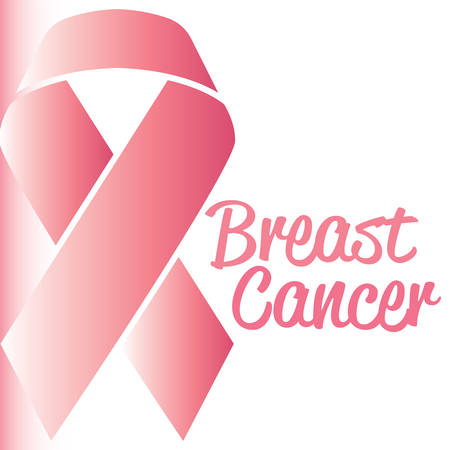 Breast cancer poster with a pink awareness ribbon - Vector Reklamní fotografie - 134848210
