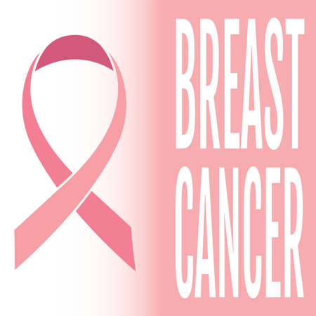 Breast cancer poster with a pink awareness ribbon - Vector Reklamní fotografie - 134848211