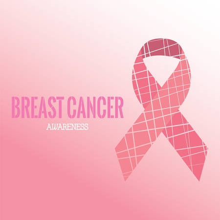 Breast cancer poster with a pink awareness ribbon - Vector Reklamní fotografie - 134848279