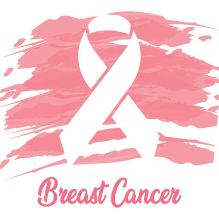 Breast cancer poster with a pink awareness ribbon - Vector Reklamní fotografie - 134848280