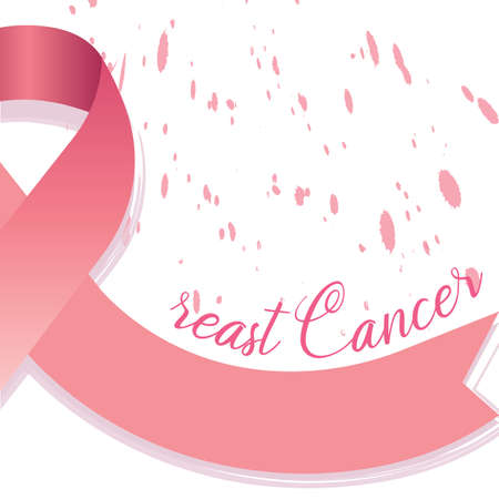 Breast cancer poster with a pink awareness ribbon - Vector Reklamní fotografie - 134848281