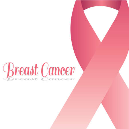 Breast cancer poster with a pink awareness ribbon - Vector Reklamní fotografie - 134848282
