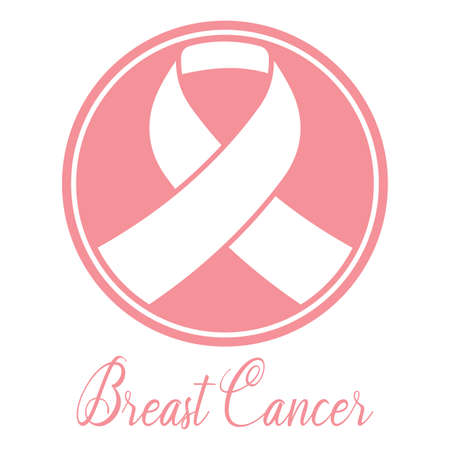 Breast cancer poster with a pink awareness ribbon - Vector Reklamní fotografie - 134848287