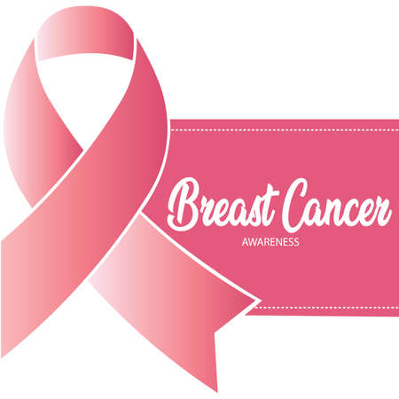 Breast cancer poster with a pink awareness ribbon - Vector Reklamní fotografie - 134848289
