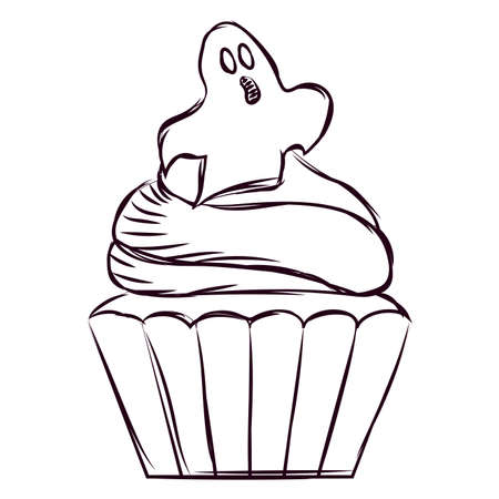 Sketch of a scary cupcake halloween - Vector illustration design