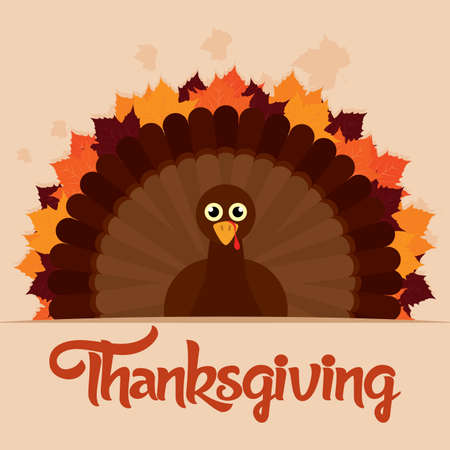 Thanksgiving poster with a turkey and text - VEctor illustration design