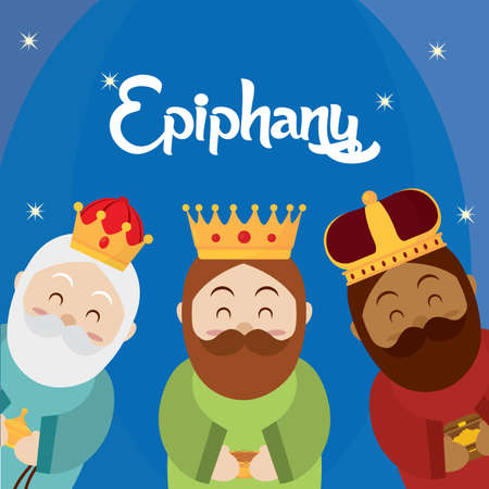 Happy epiphany day poster - Vector illustration design