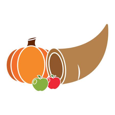 Thanksgivig horn with fruits - Vector illustration design Stock Illustratie