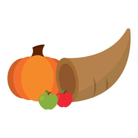 Thanksgivig horn with fruits - Vector illustration design Illustration