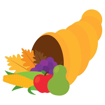 Thanksgivig horn with fruits and leaves - Vector illustration design Vectores