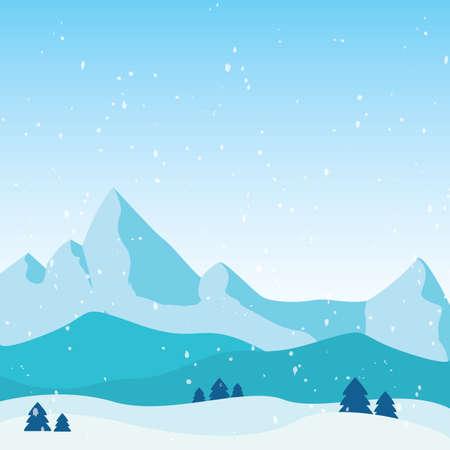 Beautiful winter landscape. Winter background - Vector illustration design