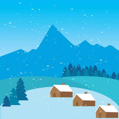 Schöne Winterlandschaft. Winter-Hintergrund - Vektor-Illustration-Design